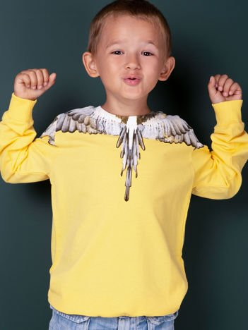 Bawełniana żółta bluza dla chłopca z nadrukiem skrzydeł