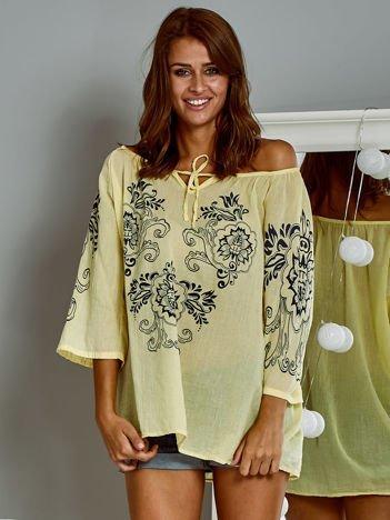 Bawełniana zwiewna bluzka z kwiatowym motywem żółta