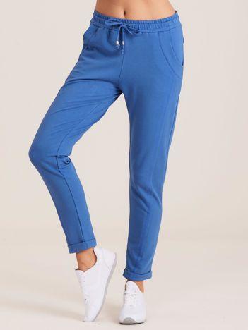 Bawełniane dresowe spodnie ciemnoniebieskie