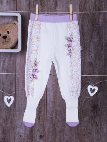 Bawełniane niemowlęce śpioszki floral biało-fioletowe
