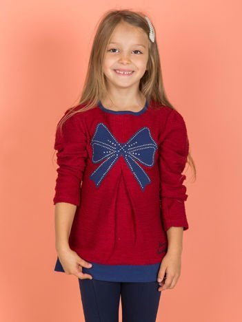 Bawełniany sweter dziewczęcy bordowy z kokardą