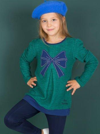 Bawełniany sweter dziewczęcy zielony z kokardą
