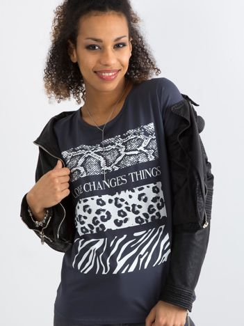 Bawełniany t-shirt damski z nadrukiem ciemnoszary