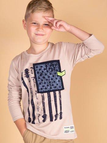 Beżowa bawełniana bluzka dla chłopca