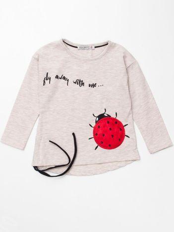 Beżowa bawełniana bluzka dla dziewczynki