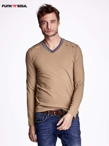 Beżowa bluza męska z napami FUNK N SOUL