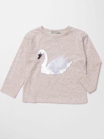 Beżowa bluzka dla dziewczynki z łabędziem
