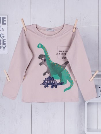 Beżowa bluzka dziecięca z dinozaurami