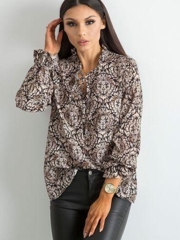 9ffdbacefb96 Beżowa bluzka w ornamentowe wzory