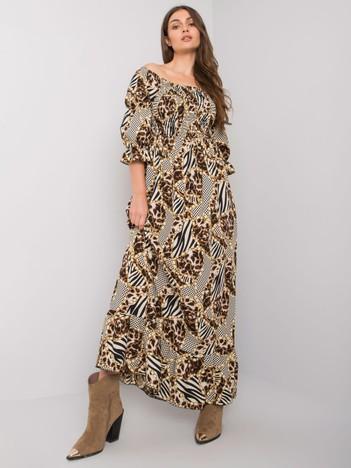 Beżowa długa sukienka Agustina
