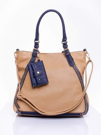 Beżowa dziurkowana torba shopper z portfelem