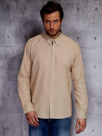 Beżowa koszula męska w drobną kratkę PLUS SIZE