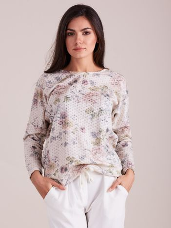 Beżowa kwiatowa bluzka damska