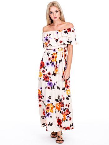 Beżowa kwiatowa sukienka hiszpanka