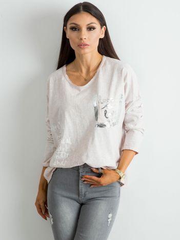 Beżowa luźna bluzka damska
