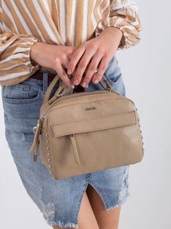 Beżowa mała torebka ze skóry