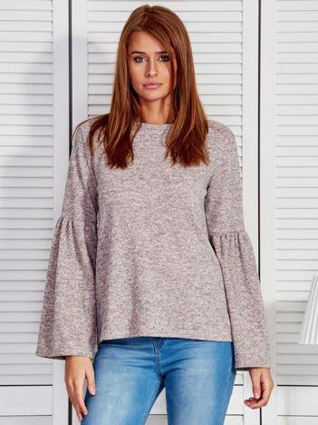 Beżowa melanżowa bluzka z szerokimi rękawami