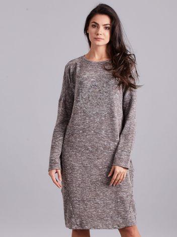 Beżowa melanżowa sukienka z aplikacją
