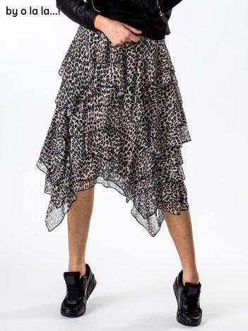 Beżowa spódnica animal print asymetryczna BY O LA LA