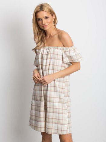 Beżowa sukienka Chequer