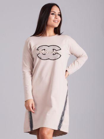 Beżowa sukienka dresowa z dżetami