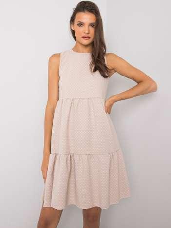Beżowa sukienka na co dzień Jelba RUE PARIS