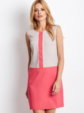 Beżowa sukienka o prostym kroju z kontrastowym dołem