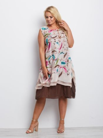 Beżowa sukienka plus size Connecticut