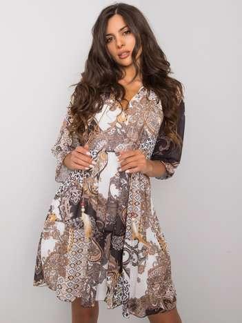Beżowa sukienka w etniczne wzory Corrine RUE PARIS