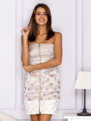Beżowa sukienka w grochy