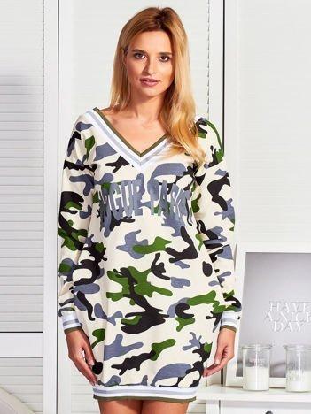 Beżowa sukienka w militarne printy