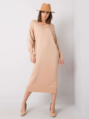 Beżowa sukienka z dzianiny Amrita RUE PARIS