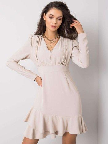 Beżowa sukienka z falbaną Keandra RUE PARIS