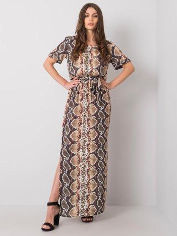 Beżowa sukienka z printami Meriem