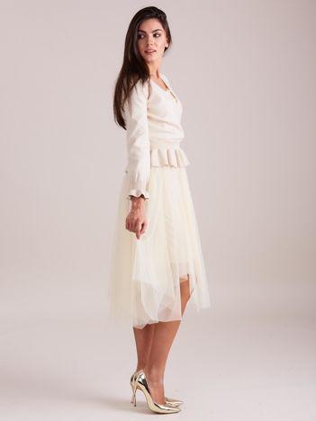Beżowa tiulowa sukienka