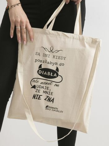 Beżowa torba ekologiczna z zabawnym zdaniem