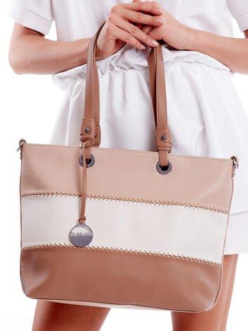 Beżowa torba shoper bag tricolor