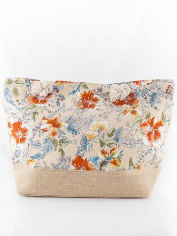 Beżowa torba w kwiaty