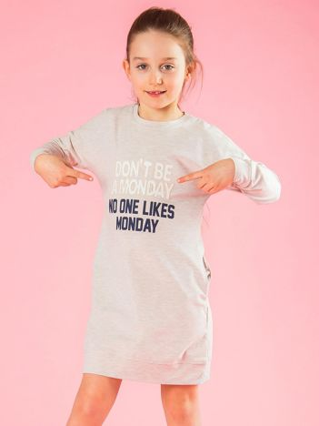 Beżowa tunika dziewczęca z napisem