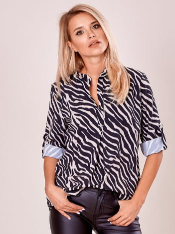 Beżowa wzorzysta luźna bluzka