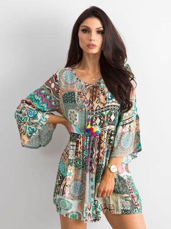 Beżowa wzorzysta sukienka patchworkowa