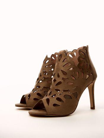 Beżowe ażurowe sandały SABATINA na szpilkach