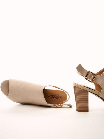 Beżowe sandały SABATINA na szerokim słupku