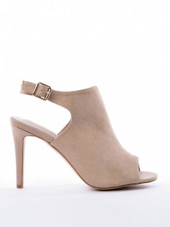 Beżowe sandały SABATINA z głęboko wyciętą cholewką