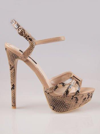 Beżowe wężowe sandały na szpilce Amber zapinane na kostce