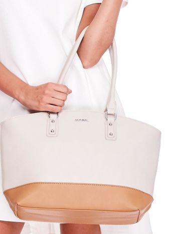 Beżowo-brązowa torba shopper bag two tone