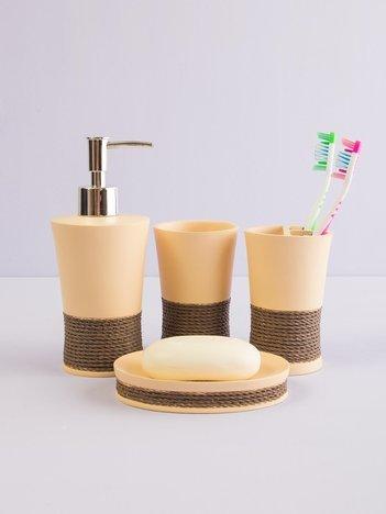Beżowo-brązowe akcesoria łazienkowe