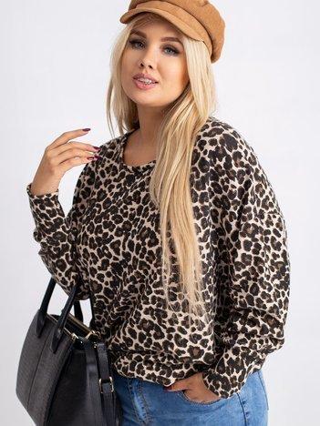 Beżowo-czarna bluzka plus size Starry