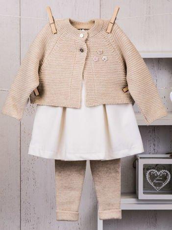 Beżowo-ecru ciepły niemowlęcy 3-częściowy komplet z sukieneczką i sweterkiem dla dziewczynki na co dzień i na specjalne okazje
