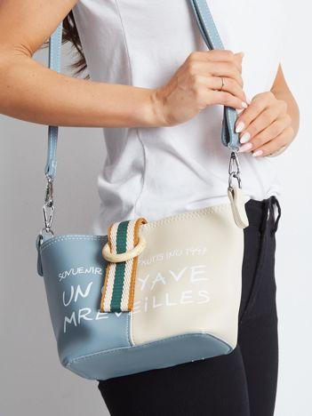 Beżowo-niebieska torebka z napisem